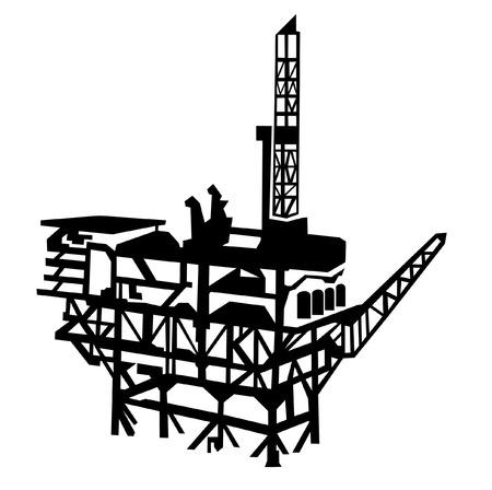 oilrig: offshore oil rig Illustration