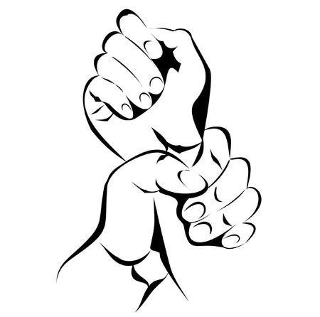 abuse young woman: Hand Violence Illustration