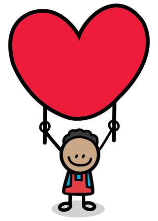 enamorados caricatura: feliz niño amante con ilustración de dibujos animados de corazón rojo Vectores