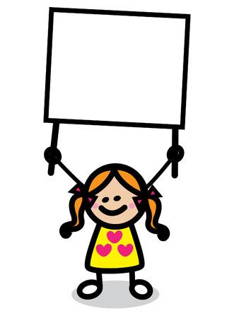 banner infantil: ilustración de niño con dibujos animados bandera