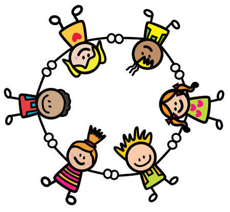 children circle: Happy kids holding hand