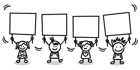 show of hands: kids holding banner