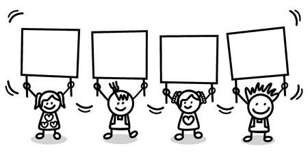 alzando la mano: niños que sostienen la bandera Vectores