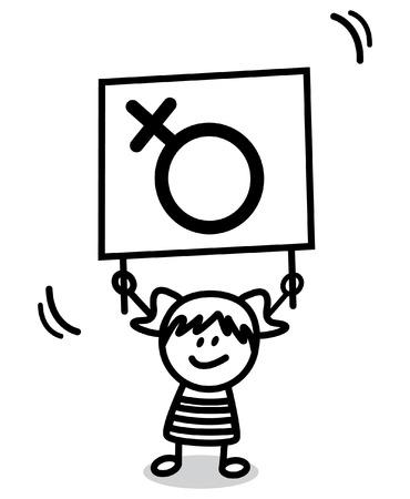 female sign: girl holding female sign