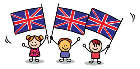 english flag: kids with england flag Illustration