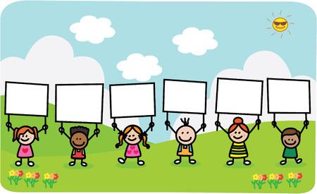 niños con pancarta: Niños que sostienen la bandera en el parque