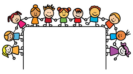 Enfants tenant la main avec la bannière Banque d'images - 38491307
