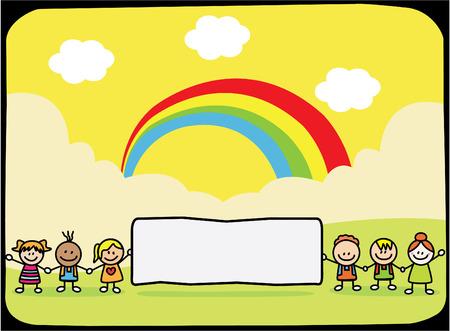 Happy children holding banner at park when summer Vector