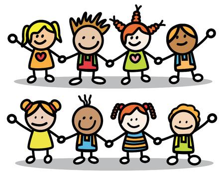 Happy Little Kids  イラスト・ベクター素材