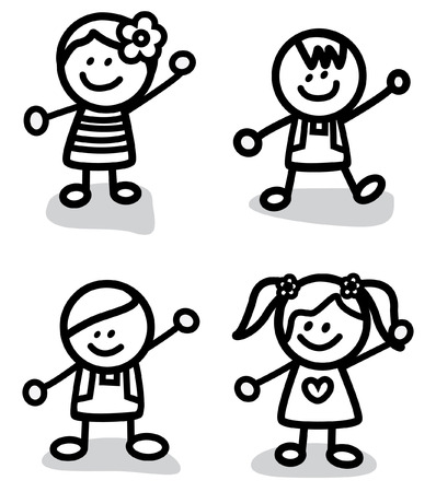 kids holding hands: Funny Children friends Group