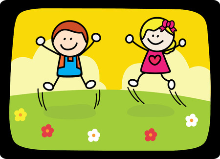 happy kids jumping playing at flower park Vector