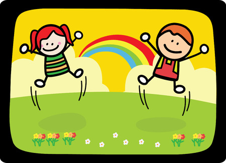 happy kids playing at park when rainbow Vector