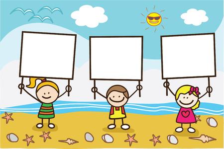 when: happy kids holding banner when summer beach Illustration
