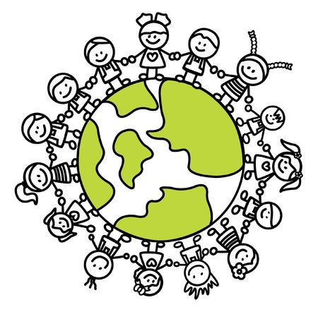 Enfants tenant la main avec monde Banque d'images - 38494511