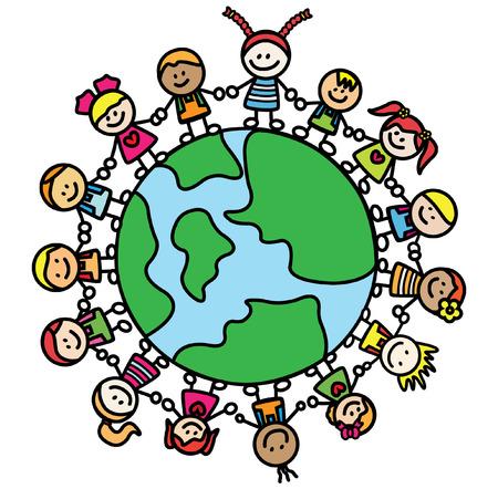 planeta tierra feliz: niños la celebración de la mano con el mundo Vectores