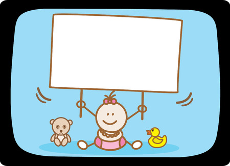 baby girl holding banner Vector Illustration
