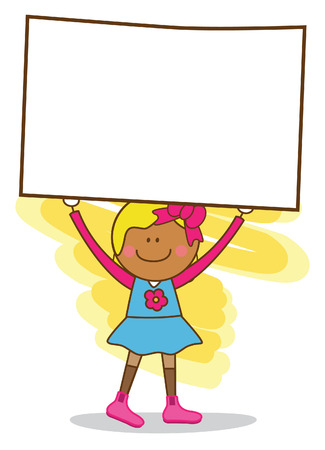 young girl holding banner Vector