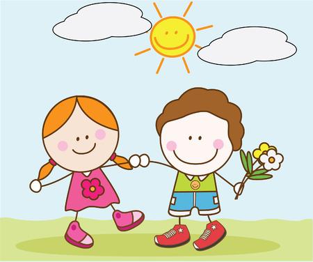kids holding hands: Lover kids