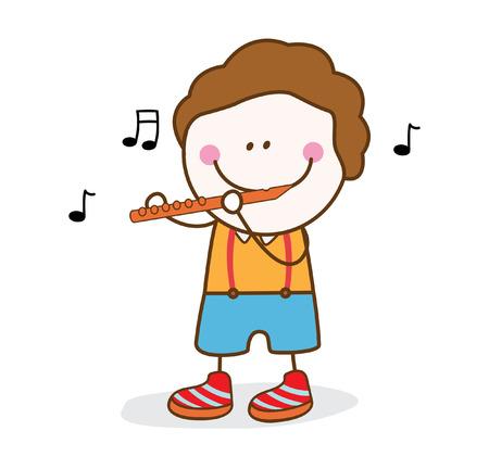 flute: boy playing flute Illustration