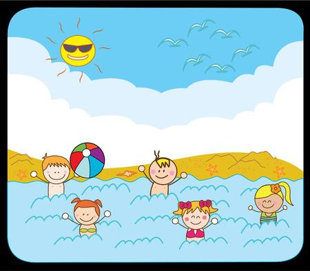 children swimming: Children swimming at beach