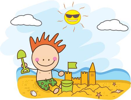 sand castle: children build sand castle at beach Illustration