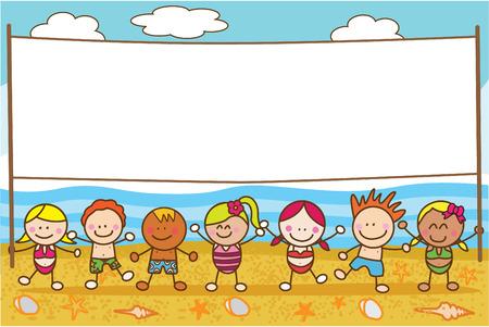 niños con pancarta: Los niños con la bandera en la playa Vectores