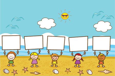 niños con pancarta: Felices los niños que sostienen la bandera en la playa Vectores