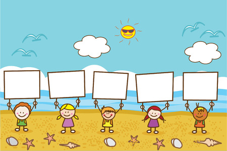 young boy in pool: Happy kids holding banner at beach Illustration