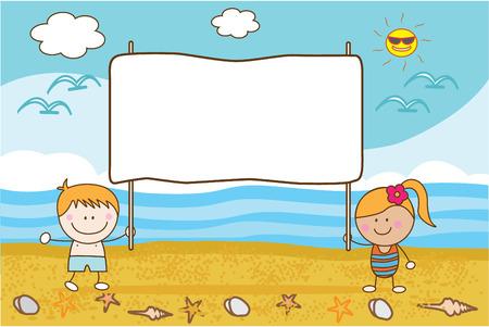 niños con pancarta: pareja feliz niños playa bandera Vectores