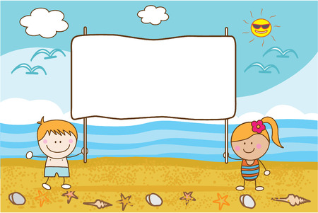 ni�os con pancarta: pareja feliz ni�os playa bandera Vectores