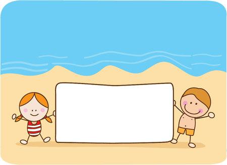 niños con pancarta: par de niños felices celebración de playa bandera Vectores
