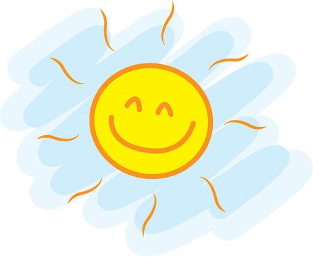 caras de emociones: Divertido sol