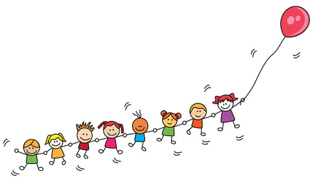 Kinder spielen Ballon
