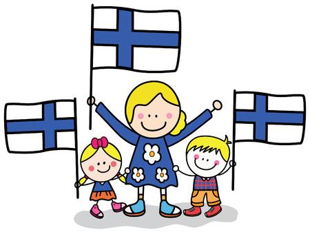 Vector children: trẻ em Phần Lan và mẹ Hình minh hoạ