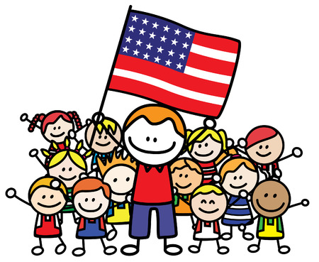 independent day: Happy family USA Illustration