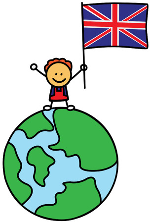 earth globe: UK kid