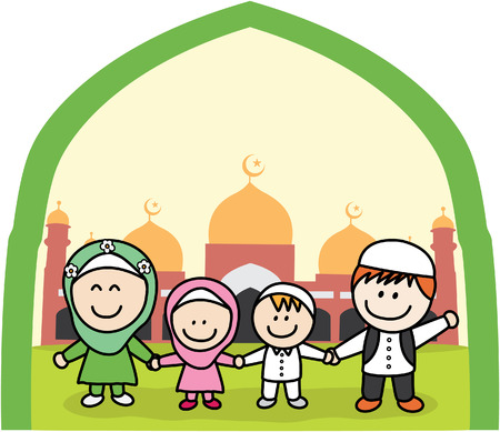 cartoon person: Moslem family