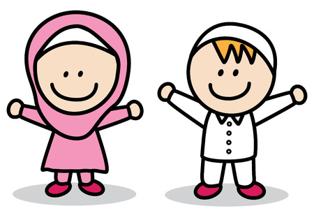 vector lamp: Muslim kids Illustration