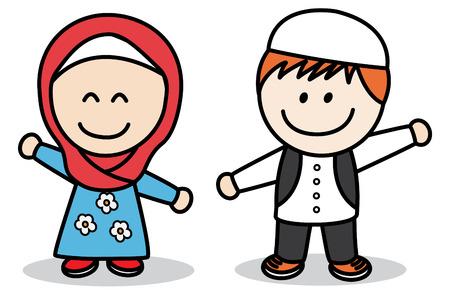 moslem: Muslim kids Illustration