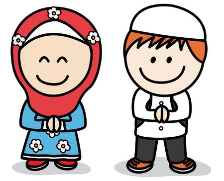 islamic prayer: Muslim kids Illustration