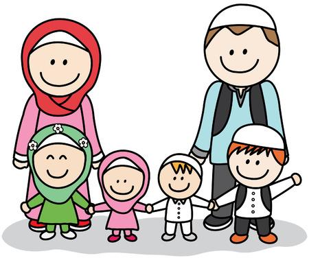 arab adult: Moslem family