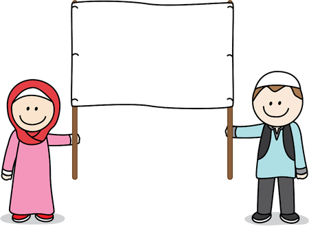 moslem: Muslim people holding a white banner illustration