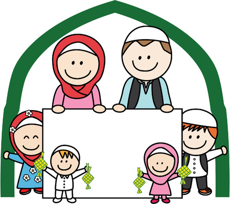 asian couple: Moslem family holding banner Illustration