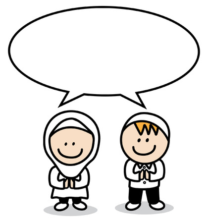 moslem: Moslem boy and girl with bubble speech Illustration
