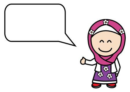 spech bubble: Moslem girl bubble speech