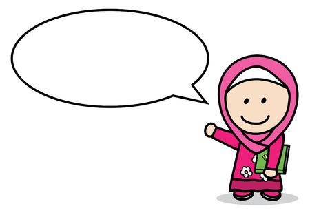 dialog baloon: Moslem girl bubble speech