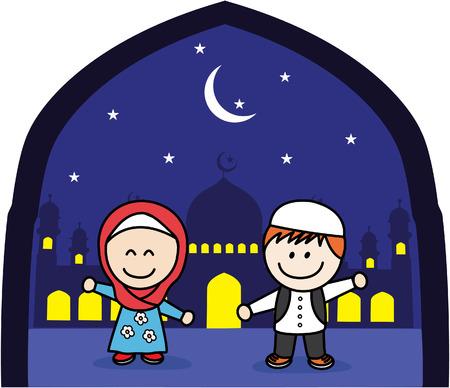 asian man smiling: Muslim boy and girl Illustration