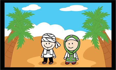 happy asian family: Moslem and Moslemah Illustration