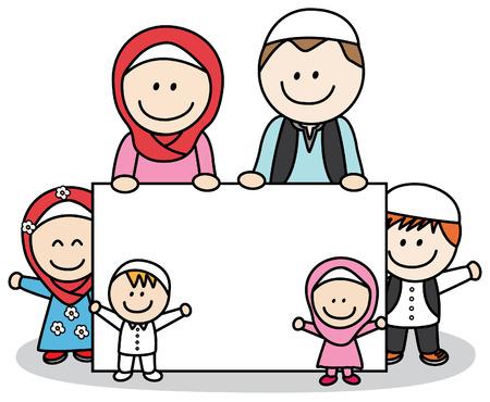 asian happy family: Moslem family holding banner Illustration