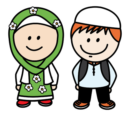 asian man smiling: Moslem and Moslemah Illustration